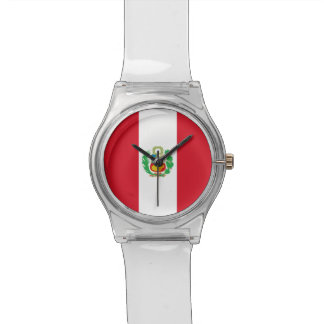 Patriotic kids watch with Flag of Peru