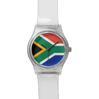 Patriotic kids watch with Flag of South Africa