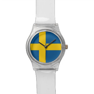 Patriotic kids watch with Flag of Sweden