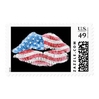 Patriotic Kiss Postage Stamp