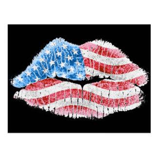 Patriotic Kiss Postcard