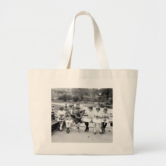Patriotic Knitting Bee, early 1900s Large Tote Bag