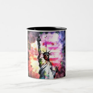 Patriotic Lady of Liberty Two-Tone Coffee Mug