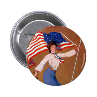 Patriotic Lady, US flag and Eagle Pinback Button