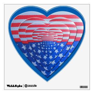 Patriotic Layered Hearts Wall Sticker