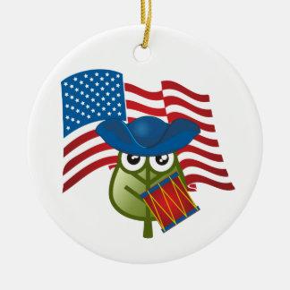 Patriotic Leaf Ceramic Ornament