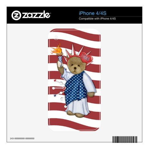 Patriotic Liberty Bear iPhone 4 Decals