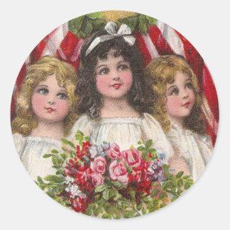 Patriotic Liberty Girls Classic Round Sticker