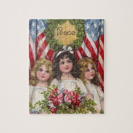 Patriotic Liberty Girls Jigsaw Puzzle