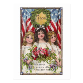 Patriotic Liberty Girls Postcard