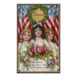 Patriotic Liberty Girls Poster
