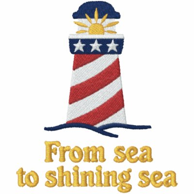 Patriotic Lighthouse USA Embroidered Shirt