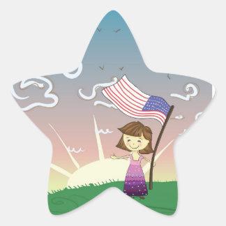 Patriotic Little Girl Star Sticker
