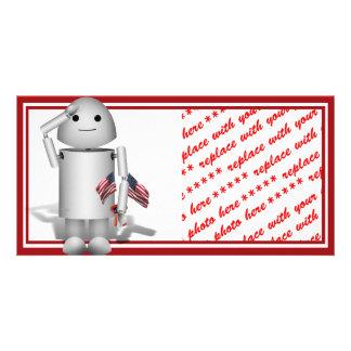 Patriotic Little Robo-x9 Photo Card Template