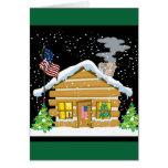 Patriotic Log Cabin Christmas Card
