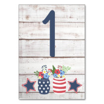 Patriotic Love II Rustic 4th of July Wedding Card