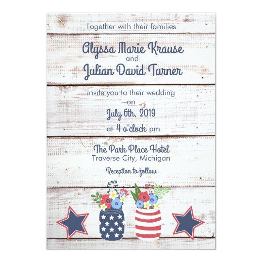 patriotic love ii rustic fourth of july wedding invitation zazzle com