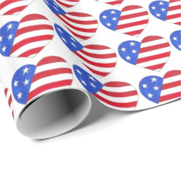 USA Themed Patriotic Love USA American Flag Heart Print Gift Wrapping Paper