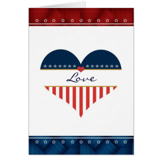 Patriotic Love USA Flag Heart Blank Card