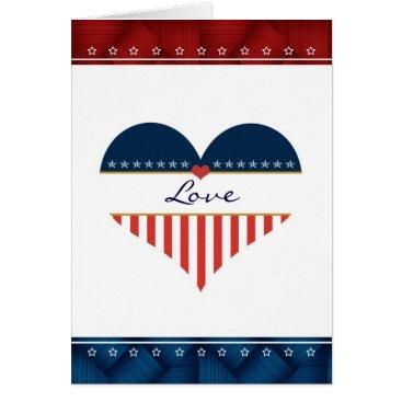 Patriotic Love USA Flag Heart Blank Card