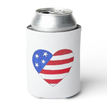 USA Themed Patriotic Love USA July 4th Stars and Stripes Flag Can Cooler