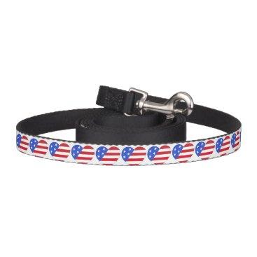 USA Themed Patriotic Love USA Stars and Stripes Heart Leash
