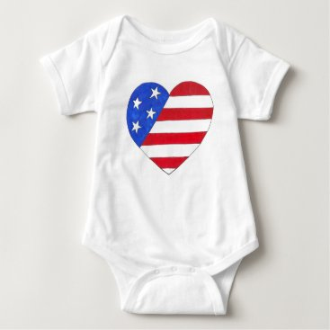 USA Themed Patriotic Love USA Stars Stripes Heart July 4th Baby Bodysuit