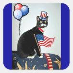 Patriotic Lucy Square Sticker