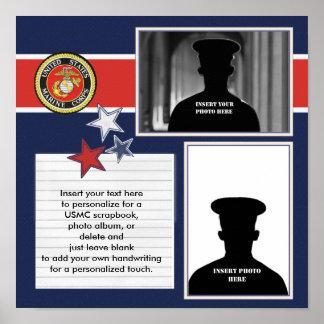 Patriotic Marine Corps Photo Collage Poster