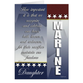 Patriotic Marine Troop Support Card for Daughter