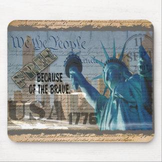 PATRIOTIC MEMORIAL 9-11-01 USA FREE BCOF THE BRAVE MOUSE PAD