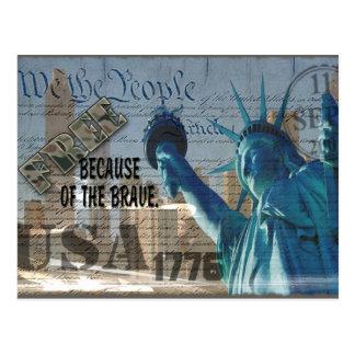 PATRIOTIC MEMORIAL 9-11-01 USA FREE BCOF THE BRAVE POST CARD