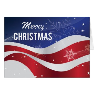 USA Themed Patriotic Merry Christmas Flag With Snowflakes Card