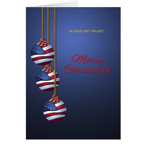 Patriotic Merry Christmas Ornaments U.S. Flag Card
