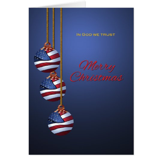 Patriotic Merry Christmas Ornaments U S Flag Card