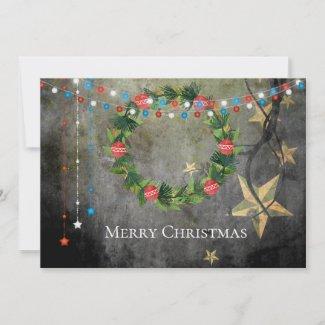 Patriotic Merry Christmas Stars n Lights, Wreath Holiday Card
