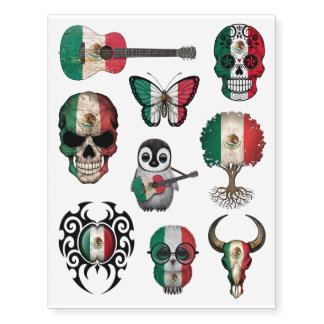 Patriotic Mexican Flags Collection Temporary Tattoos