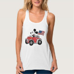 Patriotic Mickey Mouse in Red Convertible Flowy Racerback Tank Top