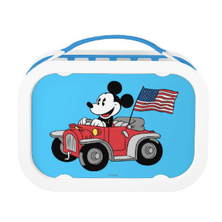 Patriotic Mickey Mouse in Red Convertible Yubo Lunchbox