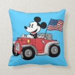 Patriotic Mickey Mouse in Red Convertible Throw Pillow