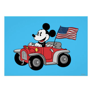 Patriotic Mickey Mouse in Red Convertible Poster