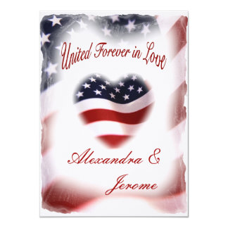 PATRIOTIC Military American Flag Wedding Card