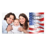 Patriotic Military Christmas American Flag Photo Card Template