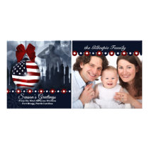 Patriotic Military Christmas | Flag Ornament Card