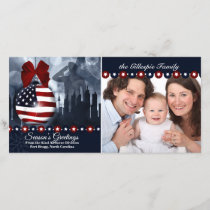 Patriotic Military Christmas | Flag Ornament Holiday Card