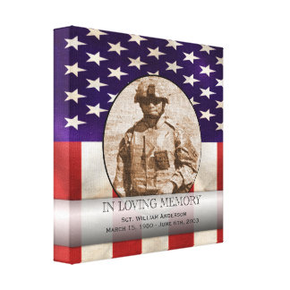 Patriotic Military Custom Personalized Memorial Canvas Print