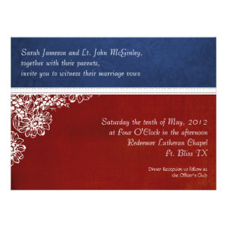 Patriotic Military Floral Wedding Oversized Invitation