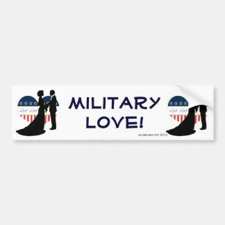 Patriotic Military Love Silhouette Bumper Sticker