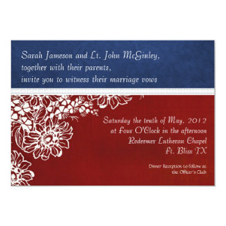 Patriotic Military Red White and Blue Wedding 5x7 Paper Invitation Card