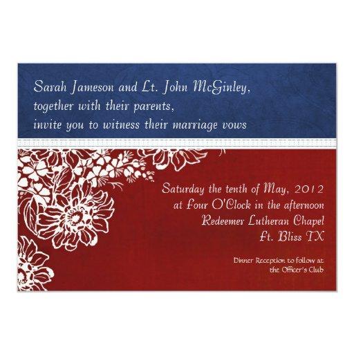 Patriotic Military Red White and Blue Wedding Custom Invitation
